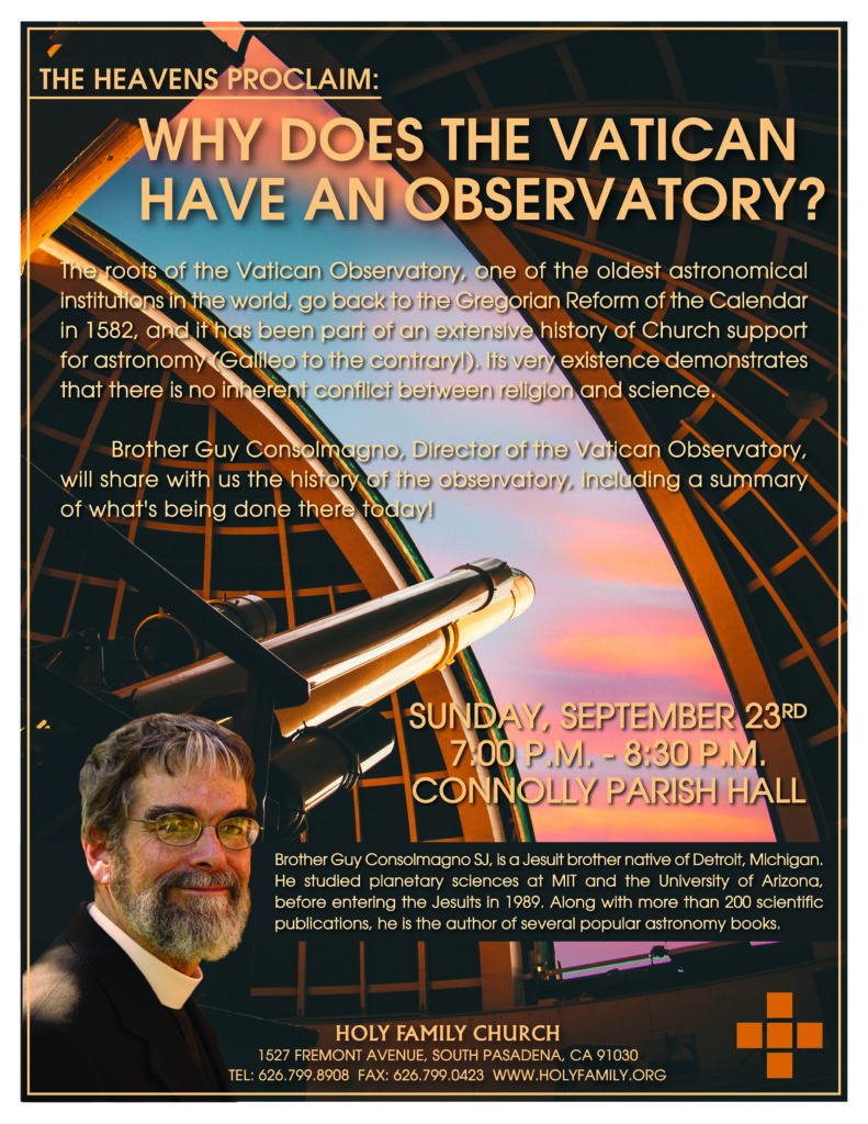 Why Does the Vatican Have an Observatory? @ Holy Family Church - Connolly Parish Hall | South Pasadena | California | United States