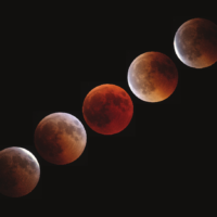 Pre, Start, Maximum, End and Post-Totality (TLE2018), by Anthony Ayiomamitis, Greece.  This beautiful sequence shows the blood moon waxing and waning on July 27, 2018.