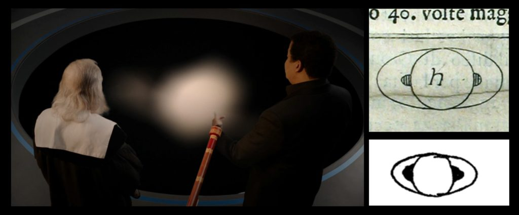 Left—On Cosmos, Galileo and Tyson look at Saturn as Galileo supposedly saw it through his telescope. Right—how Galileo portrayed Saturn.