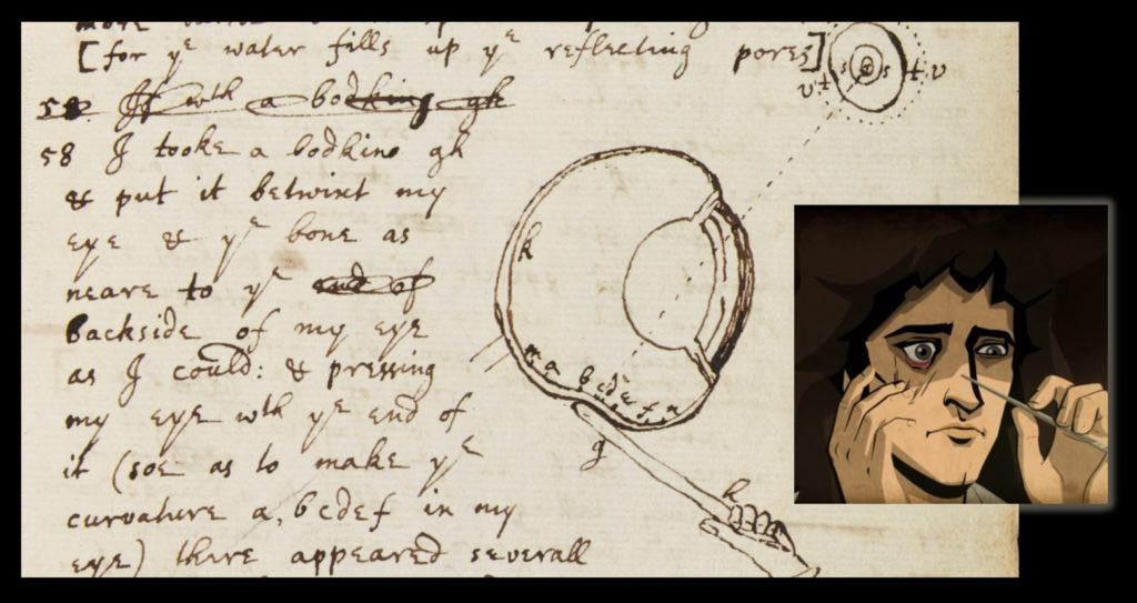 """Isaac Newton's """"bodkin"""" notes (with the Cosmos animated portrayal of the bodkin experiment at right). Look carefully, and you will see that he has written, """"I tooke a bodkin gh & put it betwixt my eye & the bone as neare to the backside of my eye as I could: & pressing my eye with the end of it (soe as to make the curvature a,bcdef in my eye)...."""". Ugh!"""