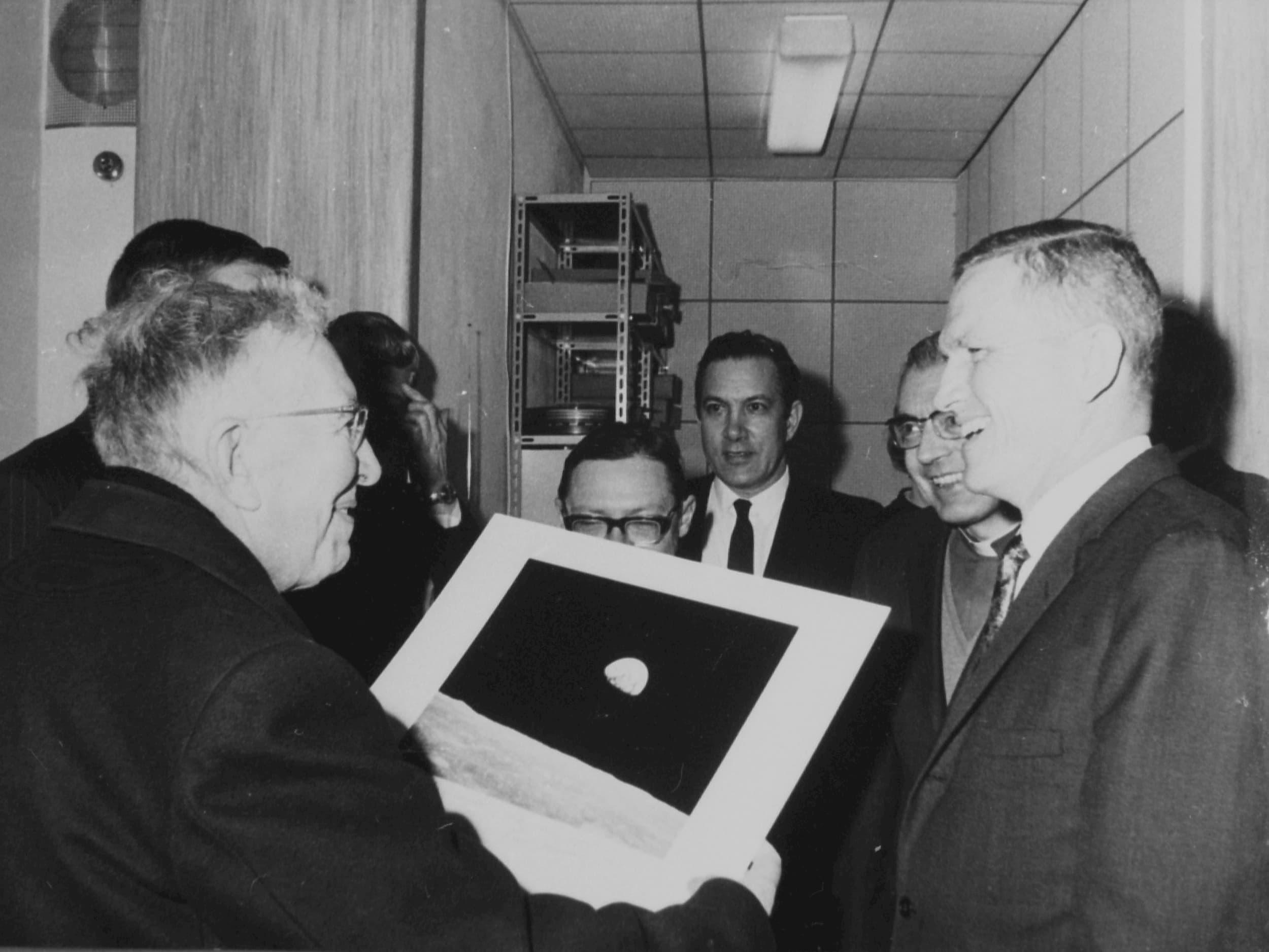 Fr. Daniel O'Connell and astronaut Frank Borman