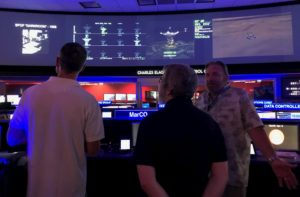 "During a visit by VOF members Br. Consolmagno, Fr. Whittington, Katie Steinke, to the JPL ""Command Center"""