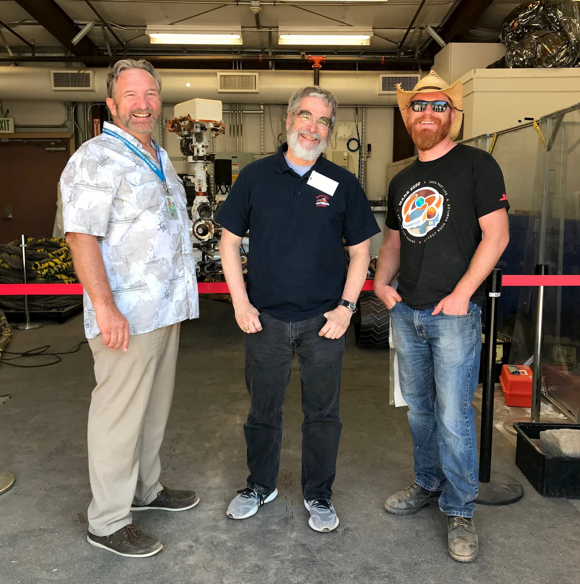 """The Perseverance Mars Rover """"twin"""" at JPL, during a visit by Br. Consolmagno"""