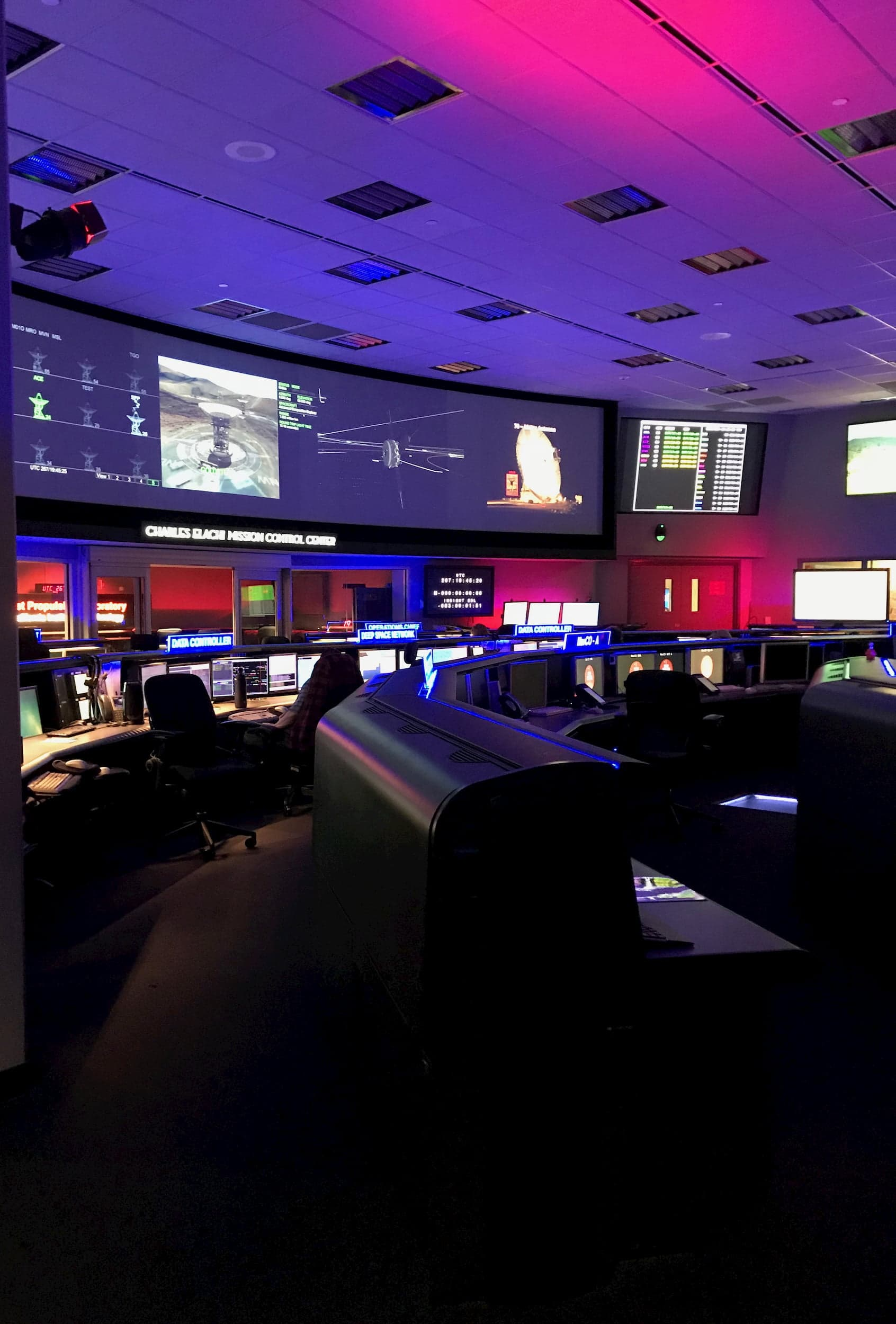 """During a visit by VOF members Br. Consolmagno, Fr. Whittington, Katie Steinke, to the JPL """"Command Center"""""""