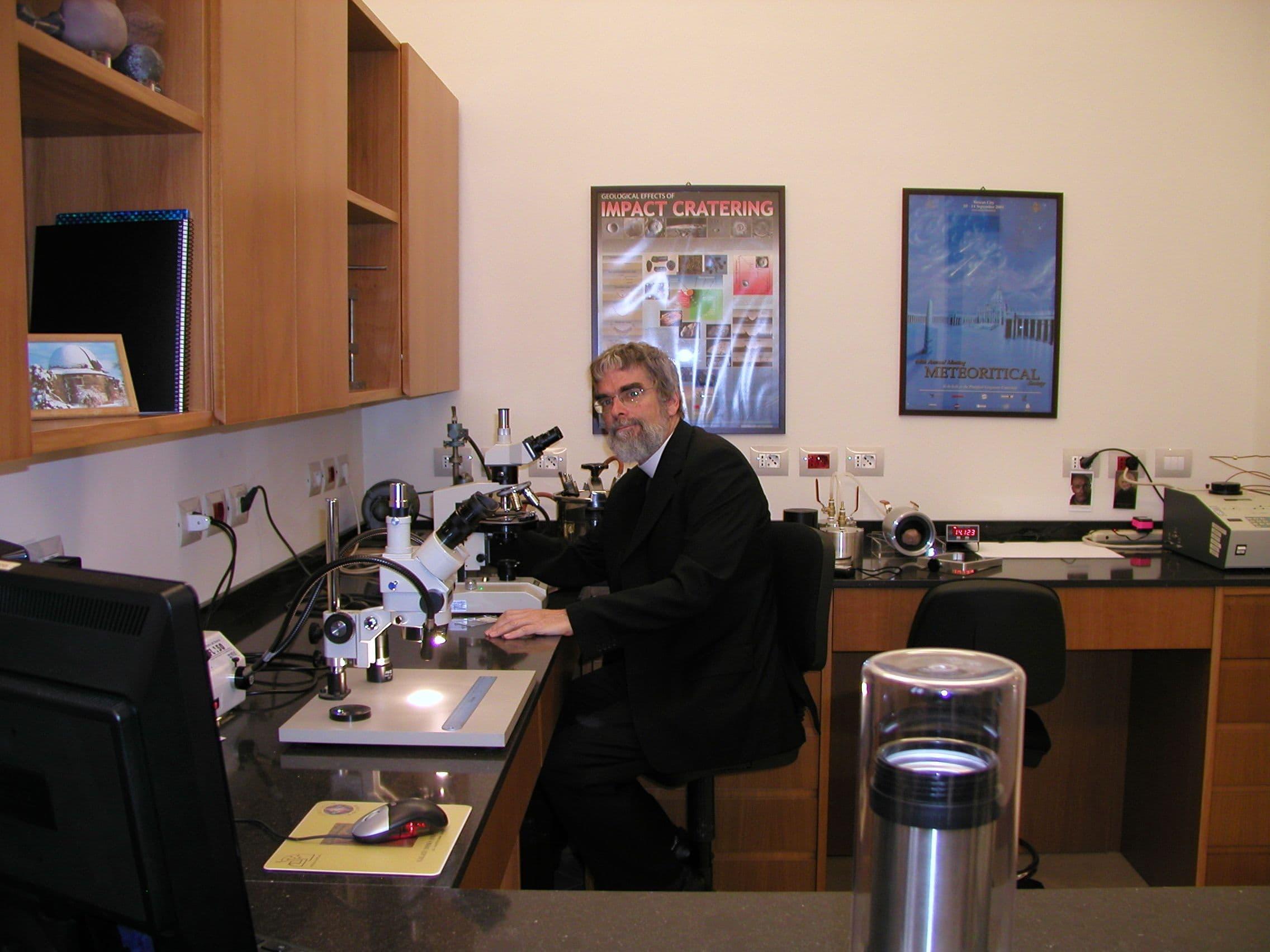 Br. Guy Consolmagno S.J. in the Specola Meteorite Lab