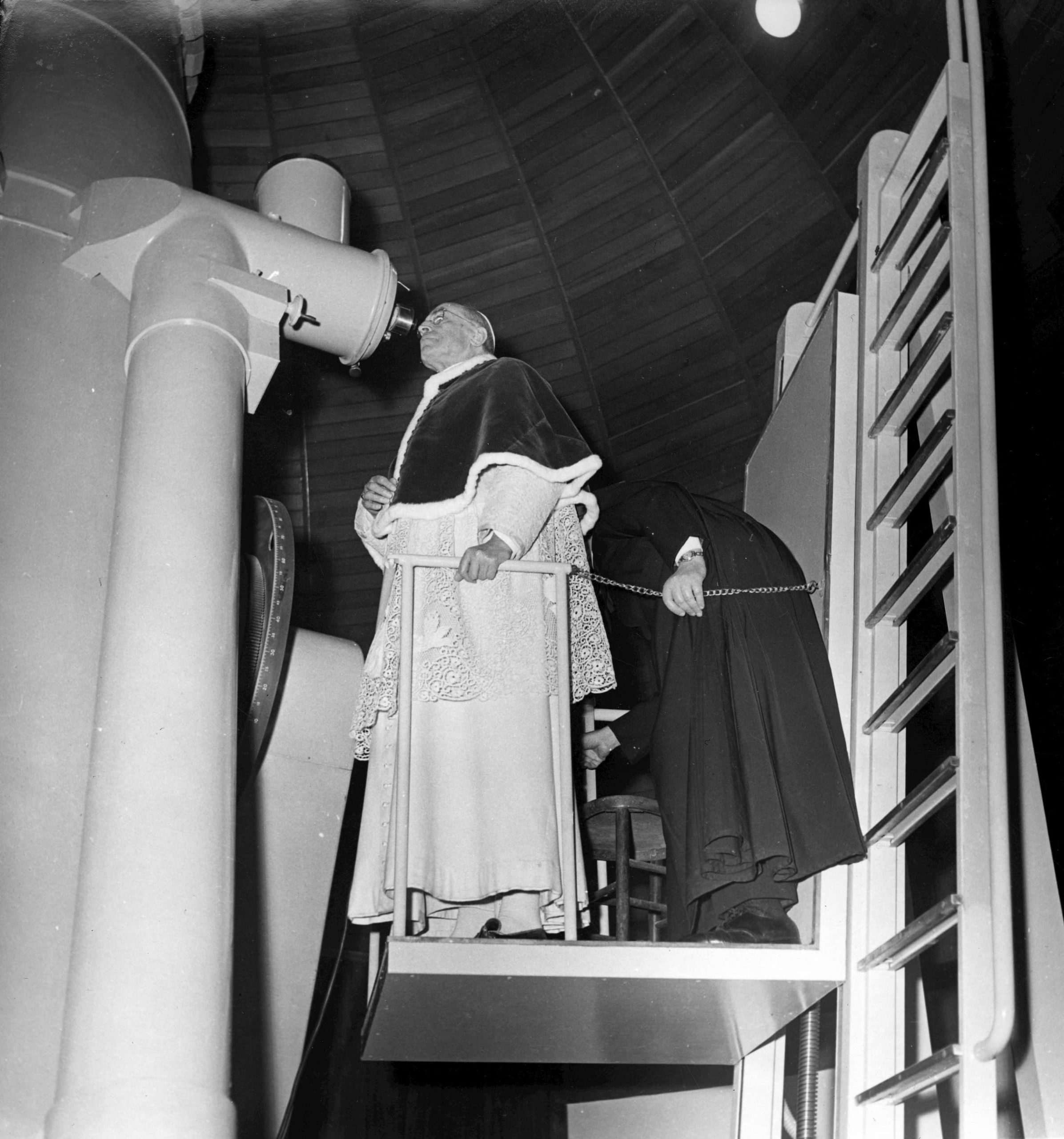 Pope Pius XII Looks through Telescope at the Vatican Observatory
