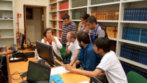 Students in the Specola library with VOSS professor Francesca D'Antona