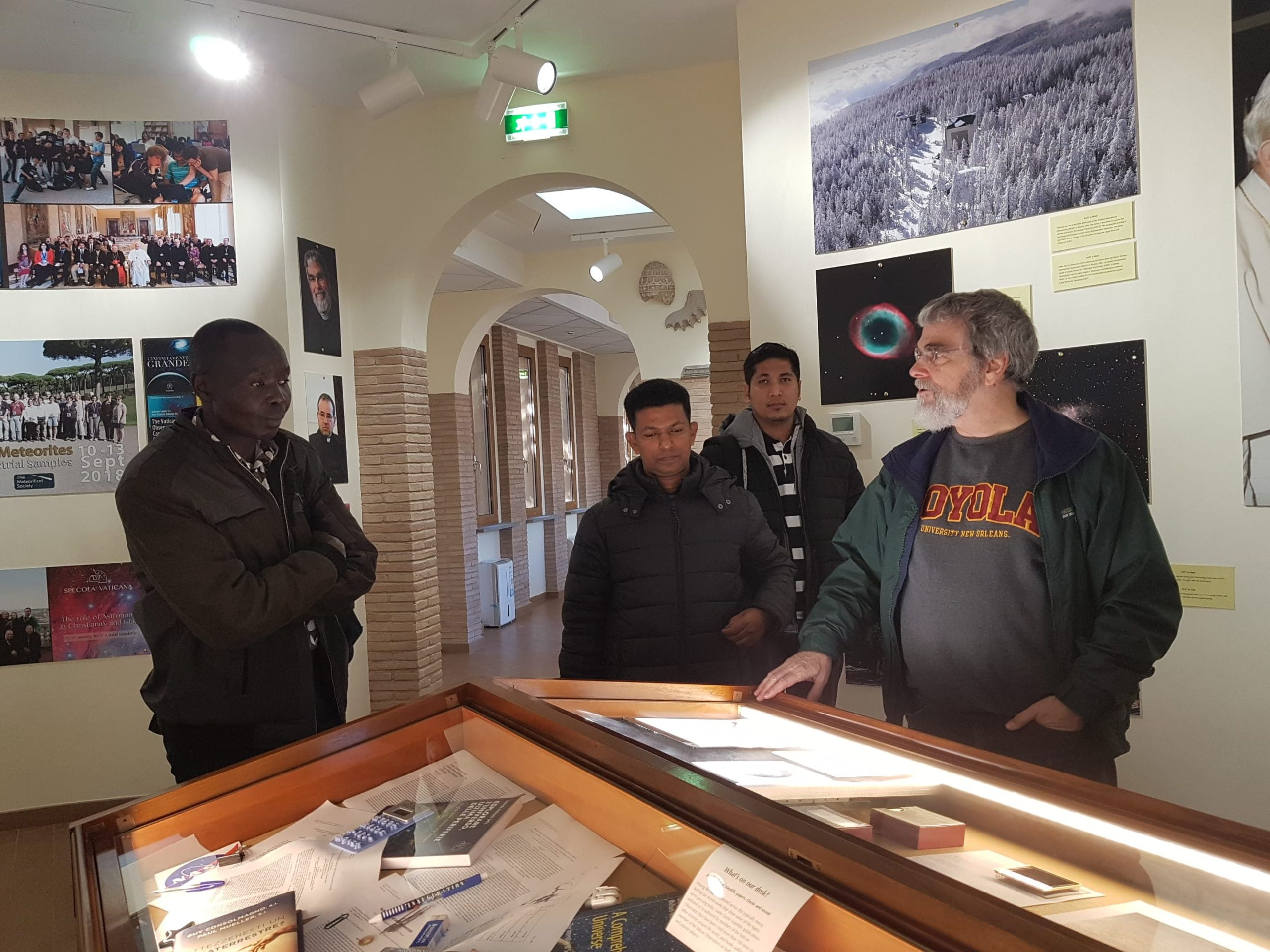 Br. Guy Consolmagno with students at the Specola Visitor Center, Papal Gardens, Castel Gandolfo