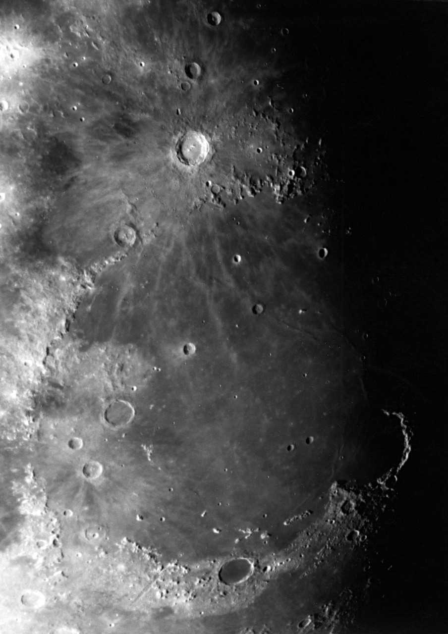 Crater Copernicus and Mare Nubium on the Moon.