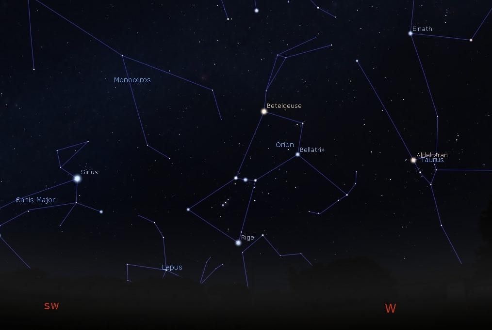 West-Southwestern sky
