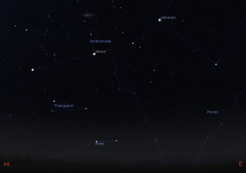 Andromeda in the east-northeastern sky