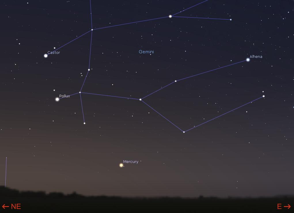 Mercury low in the east-northeastern sky