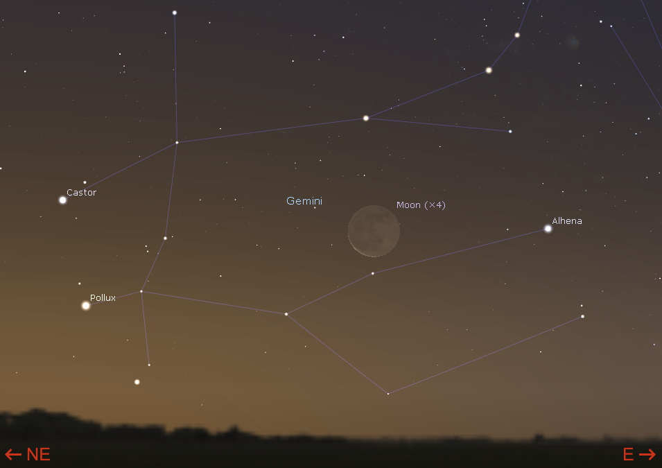 Waning crescent Moon in the east-northeastern sky