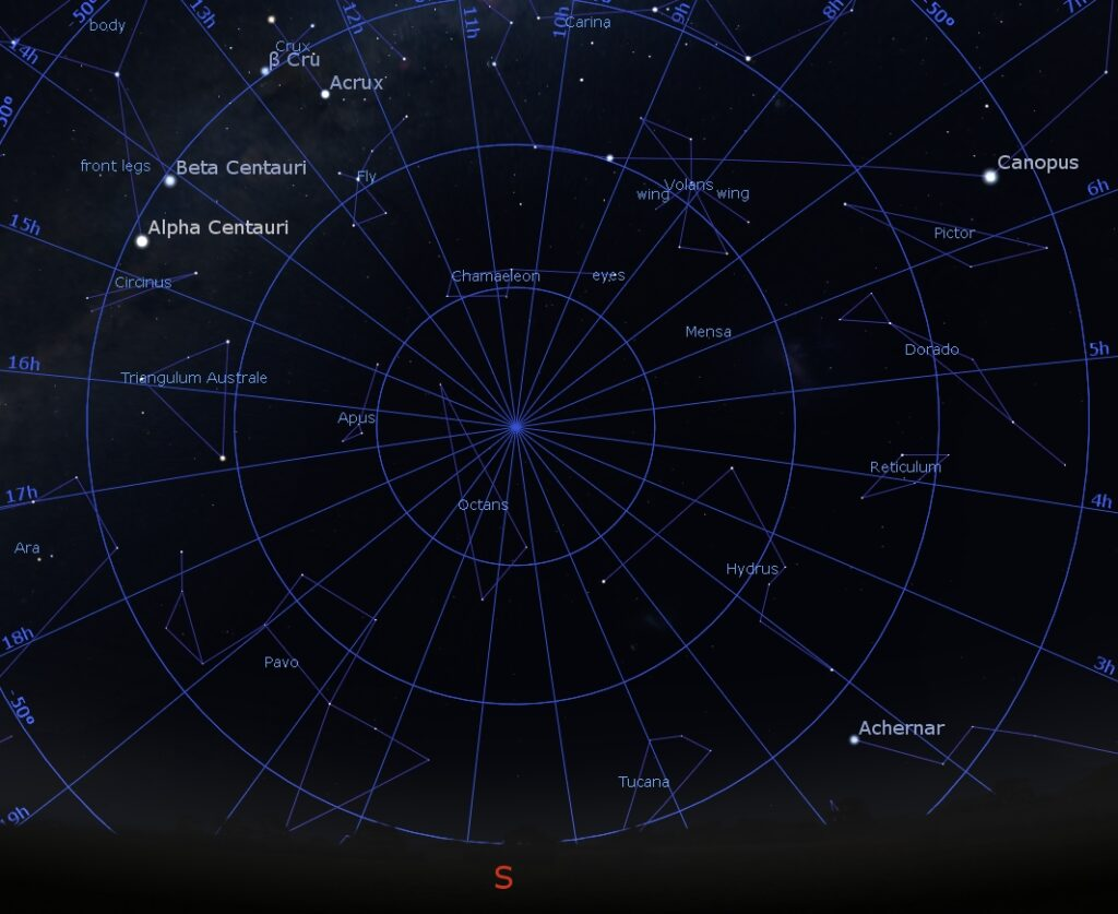 South Celestial Pole at 5:00 PM, May 15, 2018