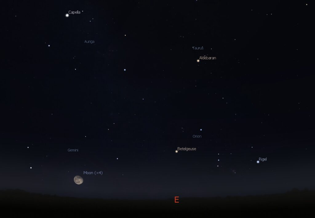 The Moon and Orion rising in the east, 8:00 PM Dec. 5, 2017