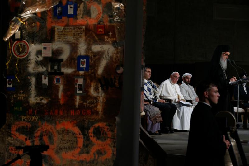 Pope Francis joins representatives of religious communities for meditations on peace in Foundation Hall at the ground zero 9/11 Memorial and Museum in New York Sept. 25. (CNS photo/Paul Haring) See POPE-GROUND-ZERO Sept. 25, 2015.