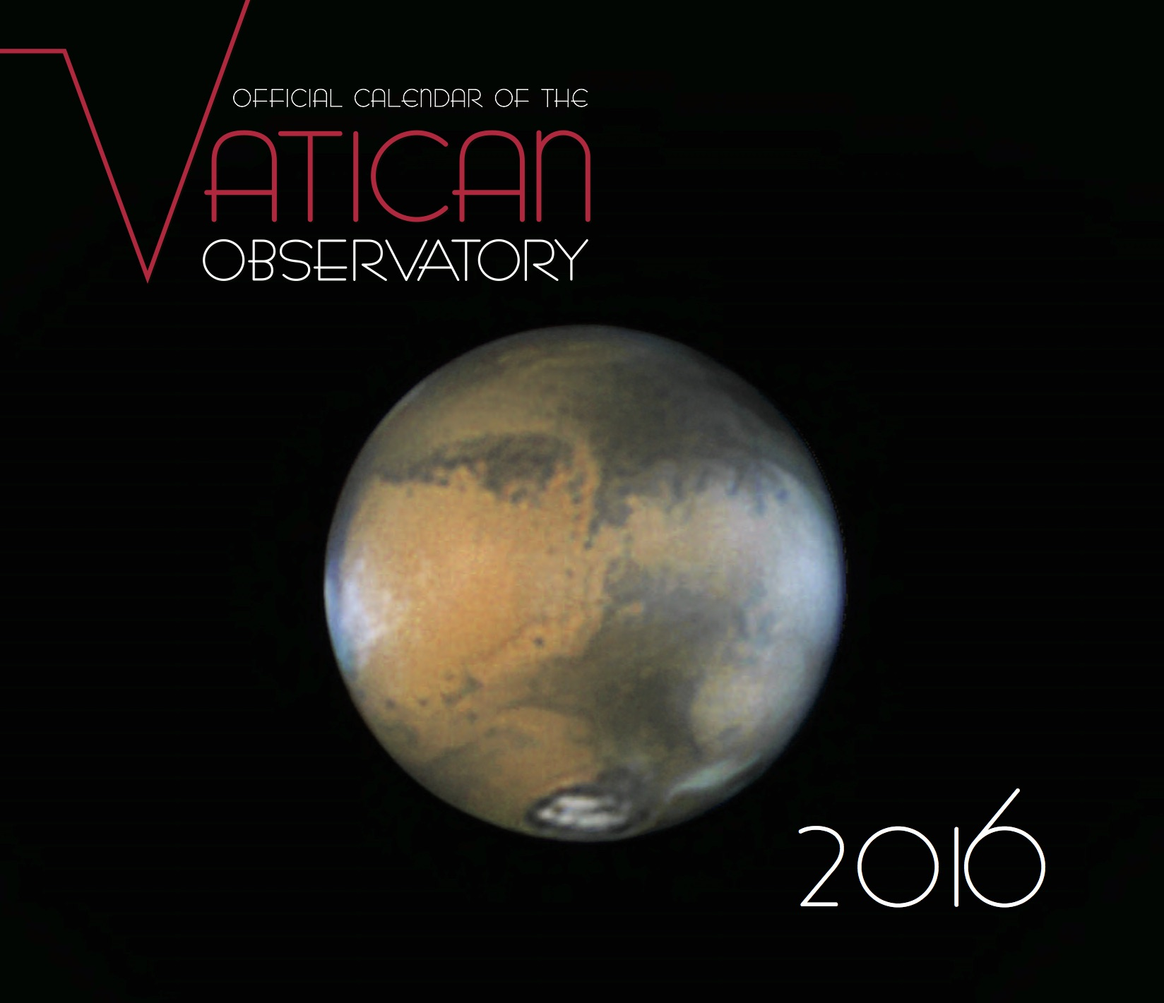 The cover of this year's calendar features an image of Mars by Damian Peach