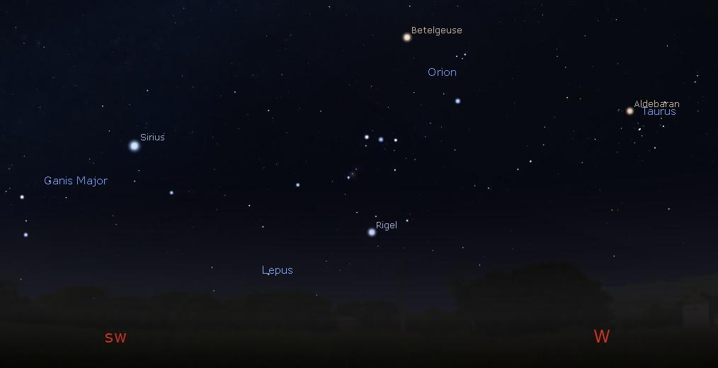West-Southwestern sky at Midnight
