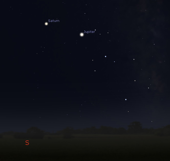 Southern sky around midnight