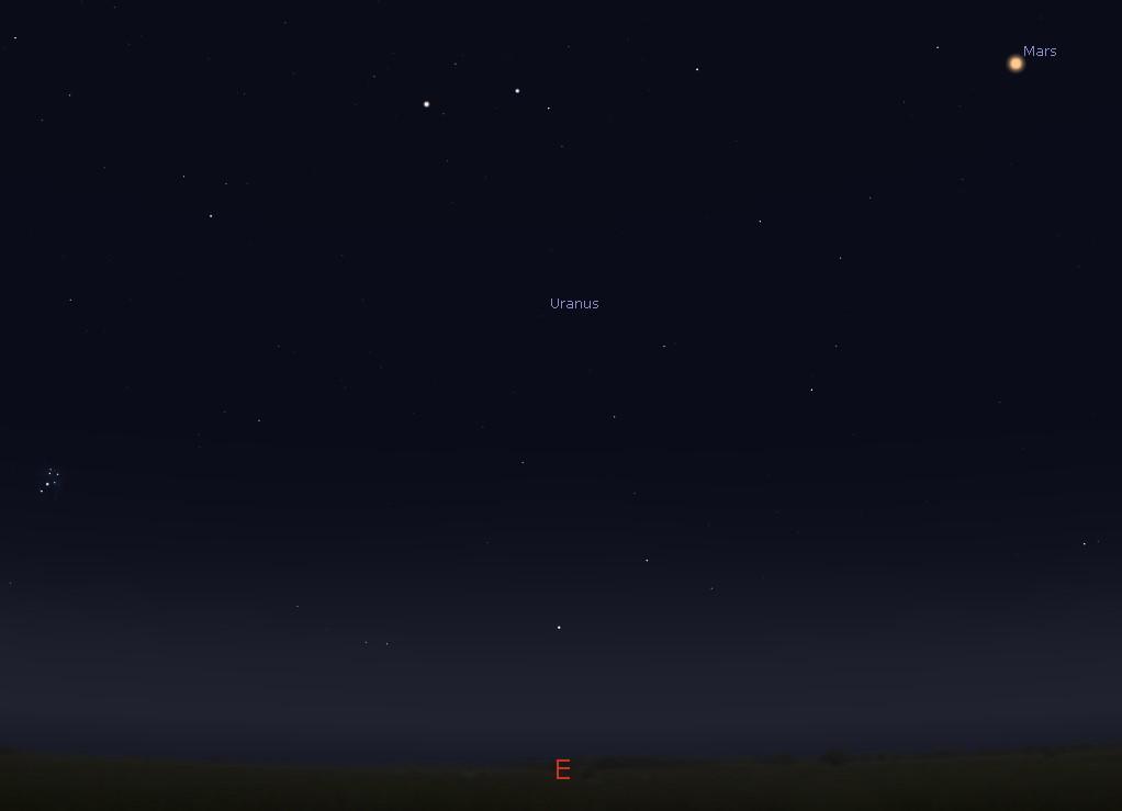 Mars in the eastern sky