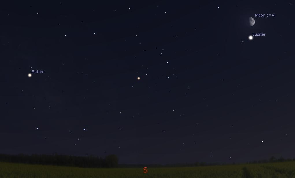 Southern sky at 10:00 PM, July 22 2018