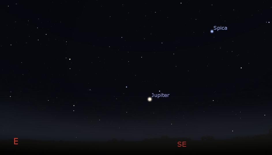 Eastern sky at 10:00 PM, May 1, 2018