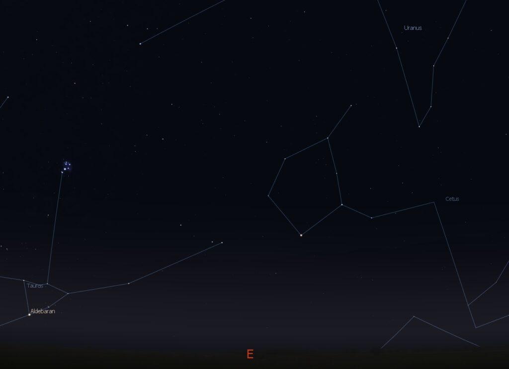 Uranus high in the eastern sky