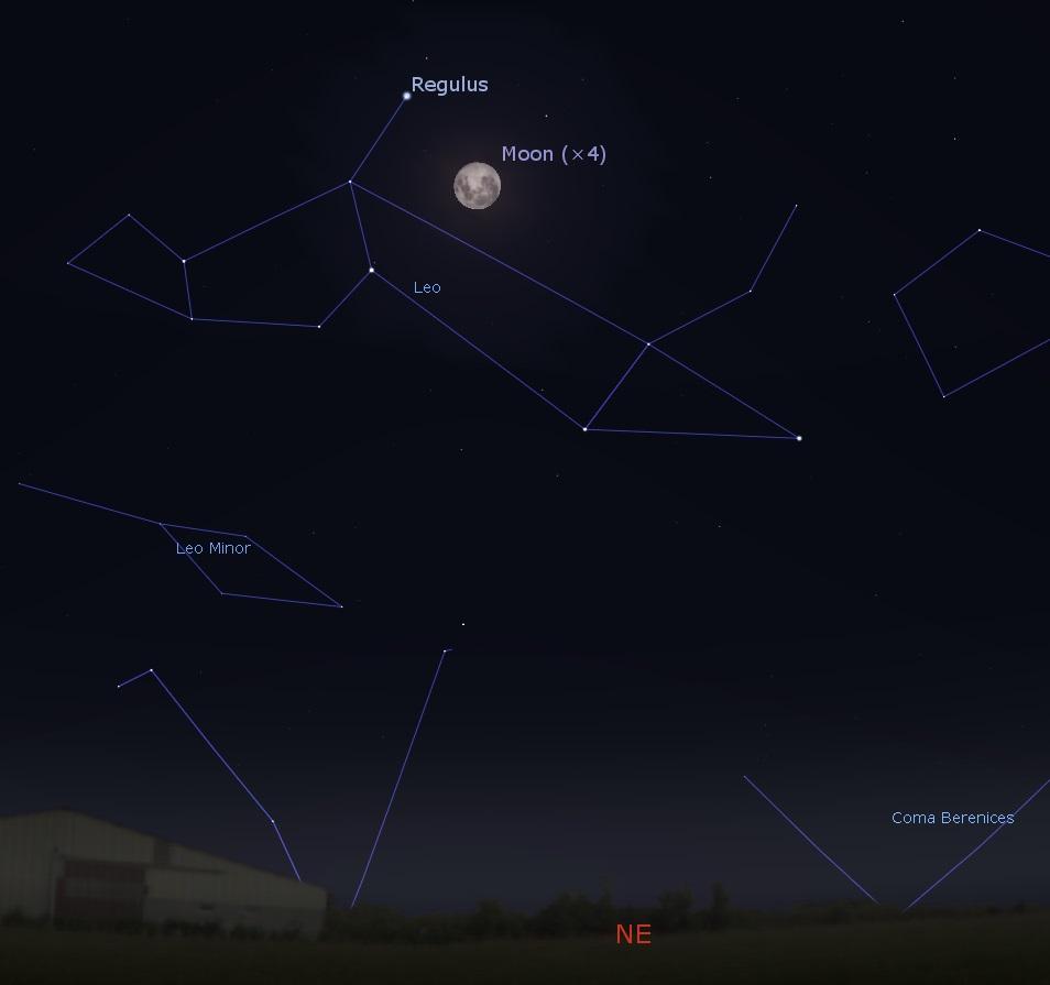 Southern hemisphere Moon and Regulus