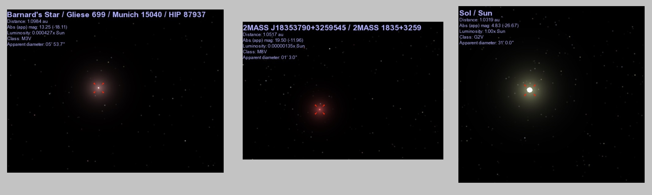 Barnard's Star, 2MASS J18353790+3259545, and the sun as they would appear from a distance of 1 AU, according to the Celestia app.