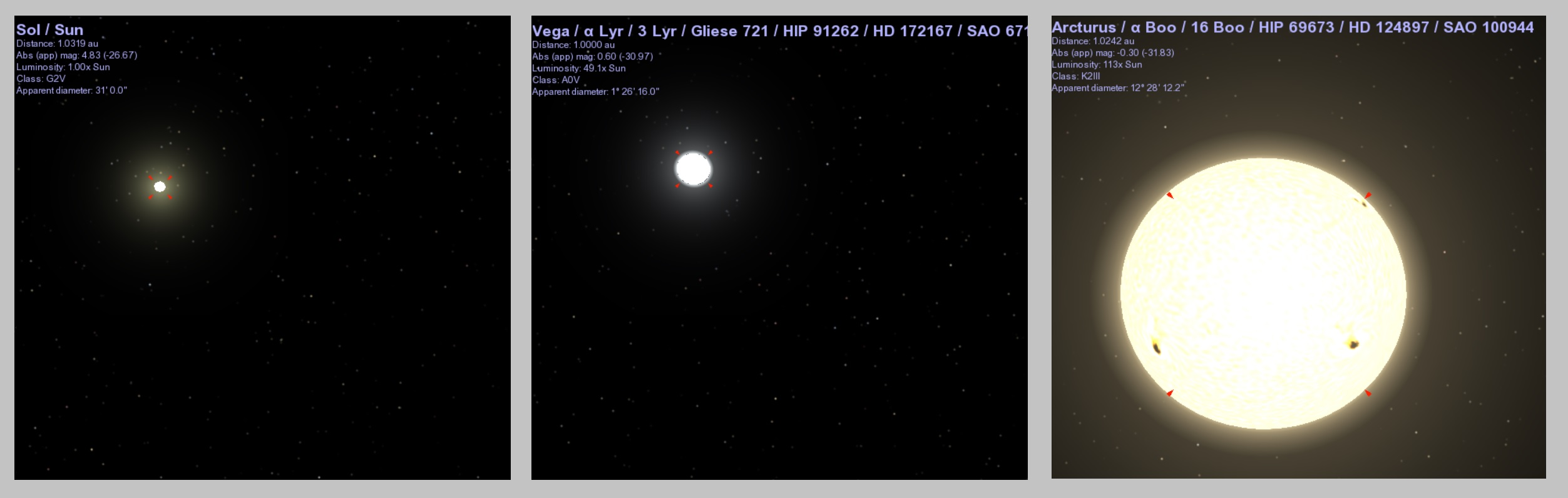 The sun, Vega, and Arcturus as they would appear from a distance of 1 AU, according to the Celestia app.