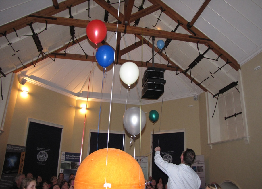 A friend untangles one of the Balloon Planets from the roof of the meridian room at Dunsink Observatory Dublin