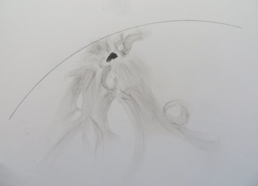AR 2738 close to the limb (another h-alpha experimental sketch) April 18th 2019 18:00 UT - 19:00 UT PST 40,8mm eyepiece, 50X Pencil on white paper. Seeing soft, intermittent haze. Louisburgh Co Mayo