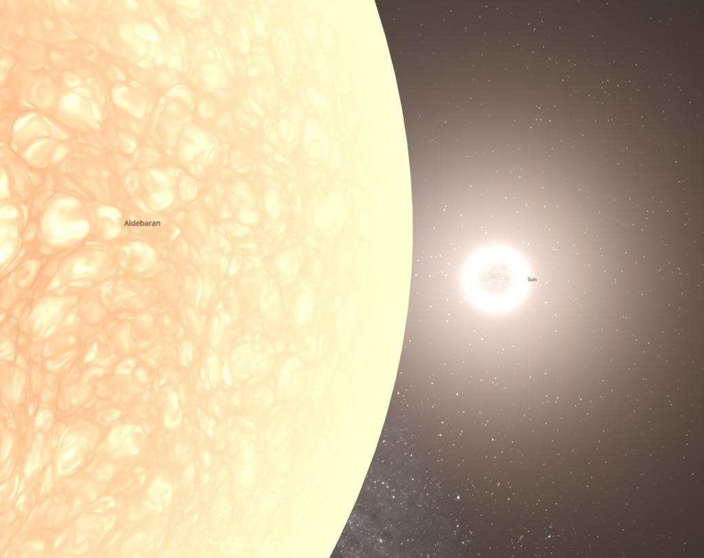 Aldebaran Compared to the Sun
