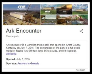What Google returns on when searching on the Kentucky Ark.