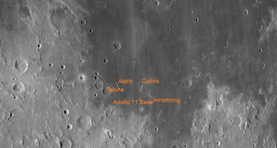 A section of the moon showing Mare Tranquillitatis ( the Sea of Tranquility) The map shows the craters Armstong Aldrin and Collins close to crater Sabine. The map comes from the free software Virtual Moon Atlas