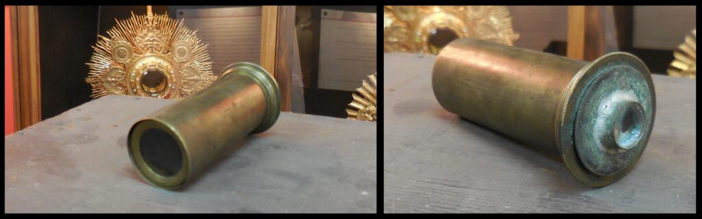 """Two """"close-up"""" photos of the eyepiece. This is the only existing eyepiece for the telescope."""