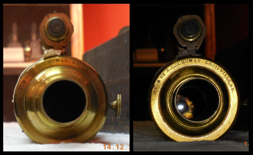 """The eyepiece end of the telescope says """"Made by A.C. Schumann Louisville, KY."""""""