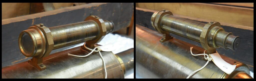 Close-ups of the finder on Bouchet's telescope.