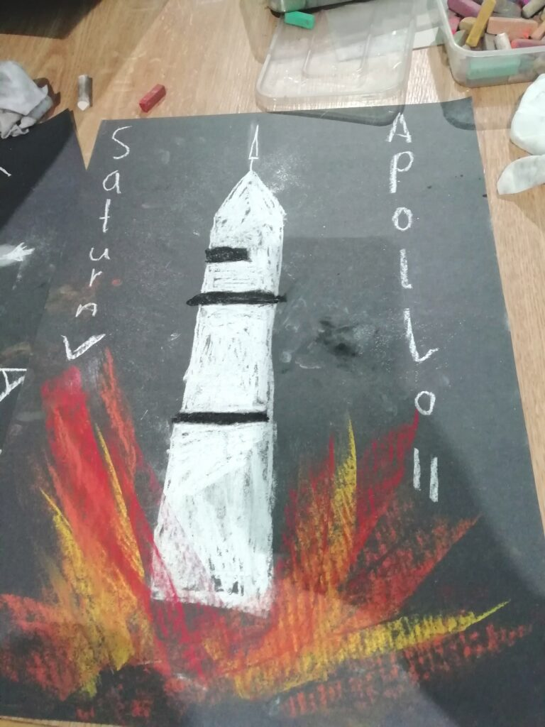 Castlebar Library Saturn V drawing with power