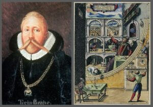 Left—Tycho Brahe. Right—An illustration of Tycho's astronomical instruments, all of which are angle-measuring devices of one sort or another.