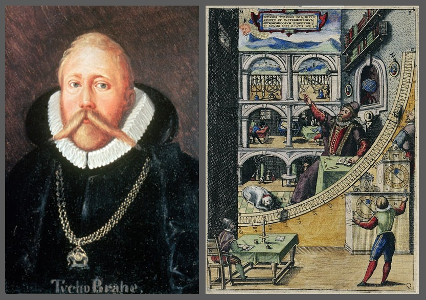 Tycho Brahe, left; representations of Brahe's research program in action, right.