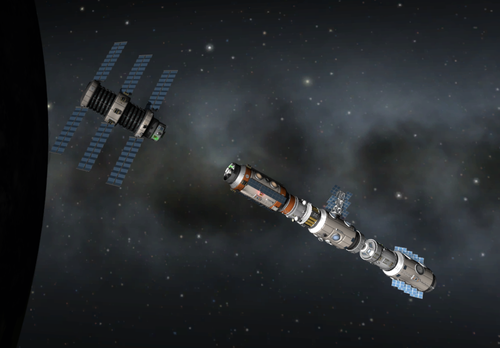 Building a space station using orbital rendezvous and docking maneuvers in Kerbal Space Program.