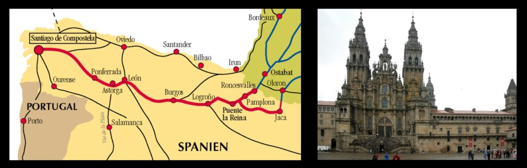 The route of El Camino de Santiago to the Cathedral of Santiago de Compostela, claimed to be the site of the tomb of the Apostle James the Greater.