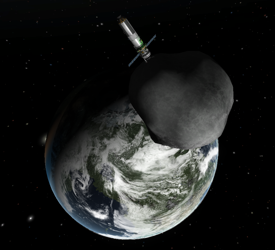 A small asteroid with a small probe attached