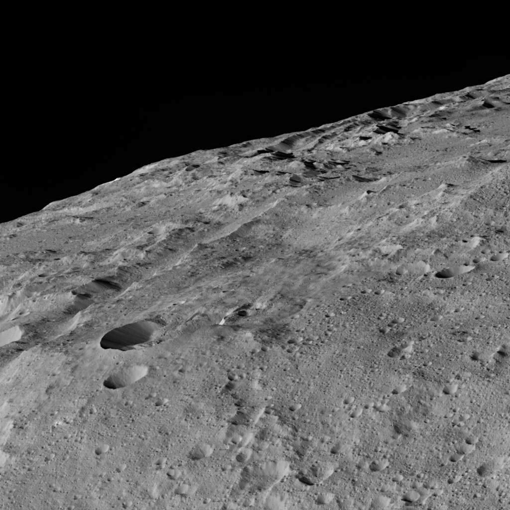 These views of Ceres, taken by NASA's Dawn spacecraft on Dec.10 shows an area in the southern mid-latitudes of the dwarf planet. They are located at approximately 38.1 south latitude, 209.7 east longitude, around a crater chain called Gerber Catena. Many of the troughs and grooves on Ceres were likely formed as a result of impacts, but some appear to be tectonic, reflecting internal stresses that broke the crust. A slightly different view of the same area, taken in the same sequence (Figure 1), is also available. The two views were combined to make a 3-D anaglyph (Figure 2). The spacecraft took these images in its low-altitude mapping orbit (LAMO) from an approximate distance of 240 miles (385 kilometers) from Ceres.