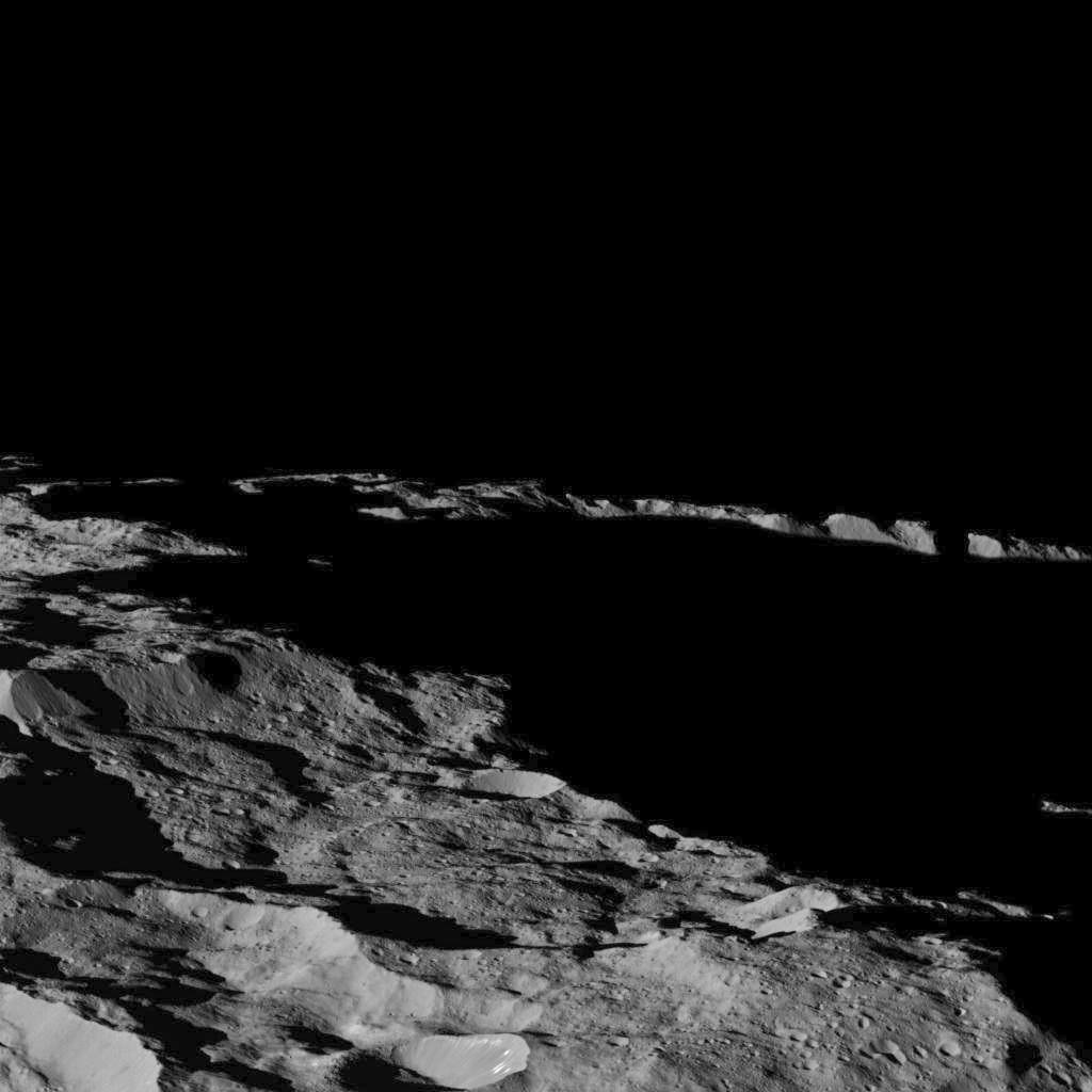 View of Ceres, taken by NASA's Dawn spacecraft on December 10, showing an area near the dwarf planet's south pole. Credit: NASA/JPL-Caltech/UCLA/MPS/DLR/IDA