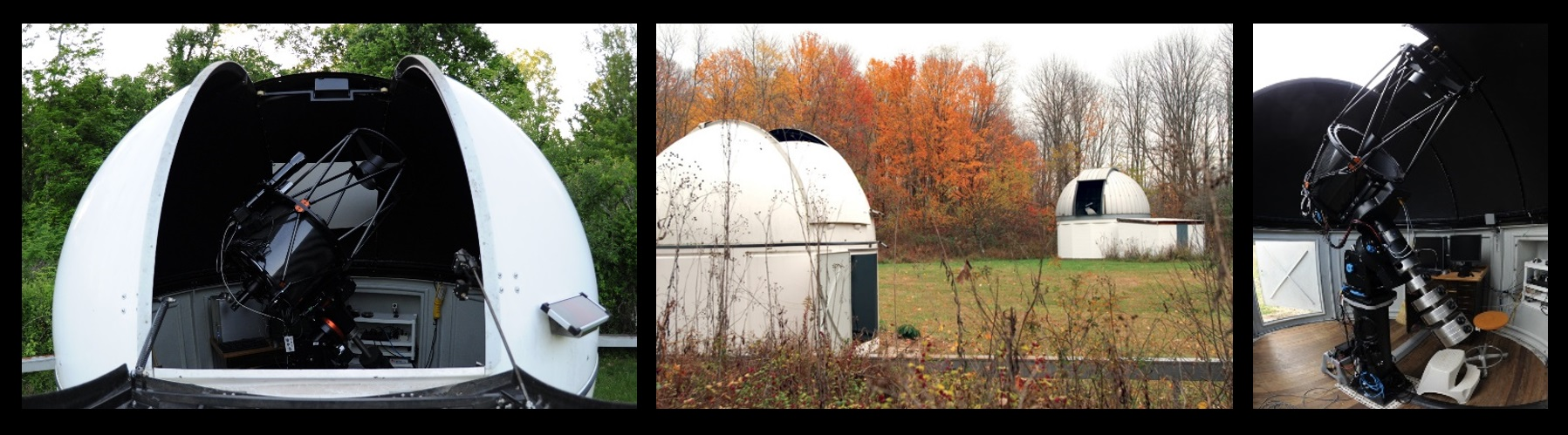 These are photos of the University of Louisville's Moore Observatory, located in Oldham County, Kentucky, just outside Louisville. These photos are from the observatory's web page. The telescope seen here is a Planewave Instruments 20-inch (0.5-meter) f/6.8 corrected Dall-Kirkham telescope. It has an identical companion at Mt. Kent Observatory in Queensland, Australia. There are other instruments at Moore Observatory as well.
