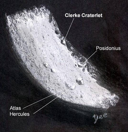 Clerke Craterlet on the Waxing Moon Terminator by Deirdre Kelleghan
