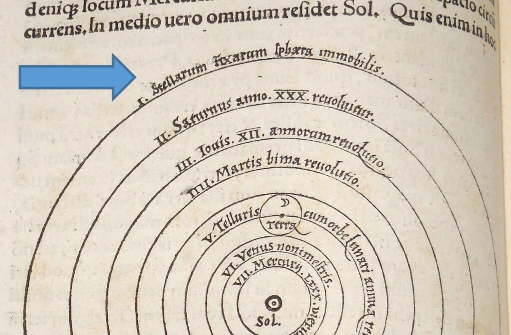 The Sphere of the Stars (arrowed) illustrated in the William Marshall Bullitt Collection copy of the 1543 De Revolutionibus of Copernicus, from the Archives and Special Collections at the University of Louisville Ekstrom Library.