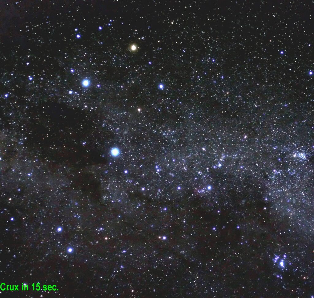 This image of the Southern Cross is by Jeremy Waller, courtesy of Robert Jenkins, of the Astronomical Society of Southern Australia